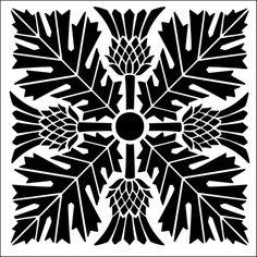 Tile No 16 stencil from The Stencil Library ARTS AND CRAFTS range. Buy stencils online. Stencil code DE103.