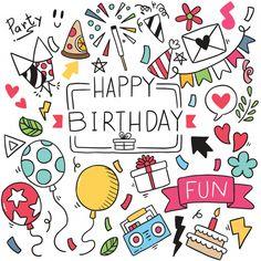 Dibujado a mano fiesta doodle feliz cump. Happy Birthday Doodles, Happy Birthday Drawings, Happy Birthday Wishes Photos, Birthday Card Drawing, Happy Birthday Signs, Birthday Cards, Birthday Tree, Flower Birthday, Happy Birthday Hand Lettering
