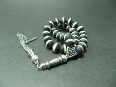 Turkish Islamic 33 Prayer Beads, Tesbih, Matte Black Agate Beads, Tasbih, Misbaha, Sufi, Worry Beads, Pocket Beads