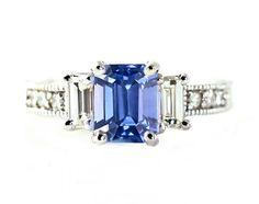 14K Blue Sapphire Engagement Ring 3 Stone Emerald Cut Blue Sapphire Ring Diamond 18K Platinum Custom Bridal Jewelry