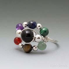 Multi-Stone Chakra Bead Sterling Silver Wire Wrapped by KimsJewels