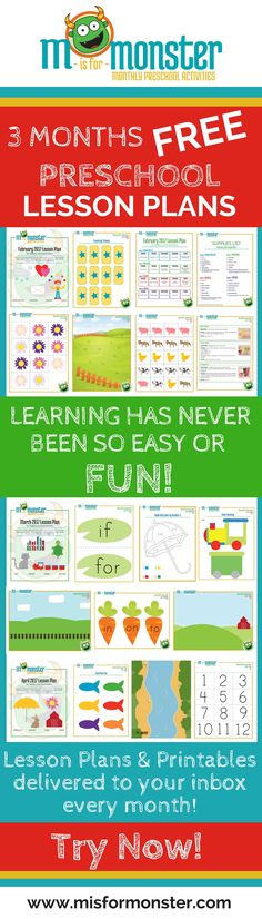 Free Printable Preschool Lesson Plans | Learning has never been so easy or FUN! 4 weeks of lesson plans with 16 activities delivered to your inbox every month. Math, reading, counting, ABC's, sight words, art, DIY crafts, gross motor, fine motor, adding, subtracting, colors and fun weekly themes. From M is for Monster. www.misformonster.com