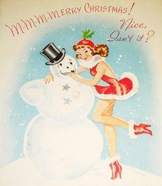 "Snowman & ""snow bunny"" girl vintage xmas card."
