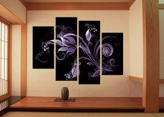 Canvas Wall Art Set of 4 Ready to Hang Choice of Real Wall Clock Abstract Floral | eBay