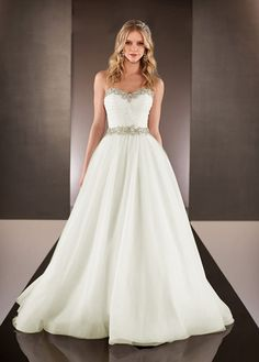 NEW! Elegant Organza Satin & Tulle Sweetheart Neckline Natural Waistline A-line Wedding Dress With Beaded Lace Appliques