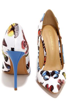 Fly Girl White Butterfly Print Pumps at Lulus.com!