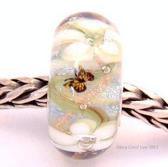 Flower Fairy Garden Glaslight Artisan Handmade Lampwork Glass Murano Dichroic Sparkle European Charm BHB Bead SRA