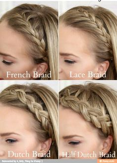 Four Headband Braids is a tutorial that will teach you how to do a French Braid Headband, Lace Braid Headband, Dutch Braid Headband, and Half Dutch Braid Headband. Free tutorial with pictures on how to style a crown braid in under 10 minutes by hairs. French Braid Headband, Headband Braids, Lace Braid, French Braided Bangs, French Fishtail, Pretty Hairstyles, Braided Hairstyles, School Hairstyles, Updo Hairstyle