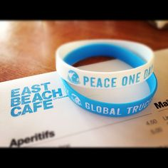 Peace One Day wristbands blending beautifully with the East Beach Cafe's menu!
