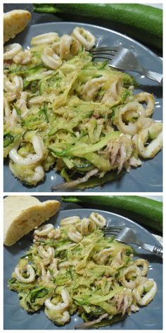 Squid and zucchini, together you will feel that good! Squid and zucchini, together you will feel that good! Calamari Recipes, Fish Recipes, Pan Relleno, Cooking Recipes, Healthy Recipes, Fish Dishes, Food Inspiration, Italian Recipes, Love Food