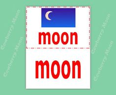 "Moon Page Teach Your Baby Vocabulary Printable Page,Baby Book Instant Download ""moon"" Page,Baby Book ""moon"" Page,Flashcards,Baby Gift by CowberryMoon on Etsy"