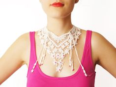 Handmade Ivory Crochet Cotton Lace Collar Necklace by EPUU on Etsy, $42.00