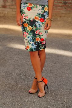 Floral skirt and shoes
