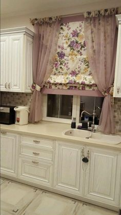 - Kitchen curtains can change the way your kitchen looks. It can make the kitchen look chic and stylish. It helps make the kitchen look whole. Curtain Styles, Curtain Designs, Cool Curtains, Valance Curtains, Vintage Kitchen Curtains, Rideaux Design, Cozy Room, Kitchen Collection, Rustic Decor