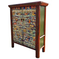 Massive Tibetan Painted Cabinet, 19th Century | From a unique collection of antique and modern cabinets at https://www.1stdibs.com/furniture/storage-case-pieces/cabinets/