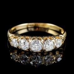 ANTIQUE VICTORIAN DIAMOND FIVE STONE RING 1CT OLD CUT DIAMONDS 15CT GOLD CIRCA 1900 FRONT Perfect Engagement Ring, Beautiful Engagement Rings, Antique Engagement Rings, Antique Diamond Rings, Swarovski Jewelry, Jewelry Rings, Jewellery, Stone Rings, Diamond Cuts
