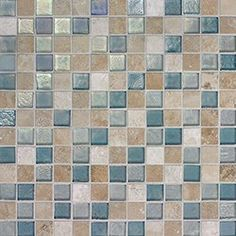 """Oceanside Glasstile...Collection Name: Harmonia...Color Components: ...Glass: Clear Irid, Pacific Irid...Travertine: Cream Blend, Light Brown Blend...Item Description: 7/8"""" x 7/8"""" Travertine and ...Item Description: Glass Mosaic Blend...Square Feet Per Sheet: 1.02...Nominal Size: 12 1/8"""" x 12 1/8""""...Thickness: .25""""...Sample Item Number: 82148"""