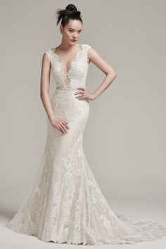 Wyatt by Sottero & Midgley Wedding Dresses. Beautiful lace bridal gown with fitted skirt. Collection starts at $1,200 & up. Make an appointment at Precious Memories in Boston, Ma. 781-397-1336. Lace Wedding Dress, 2016 Wedding Dresses, Designer Wedding Dresses, Bridal Dresses, Wedding Gowns, Bridesmaid Dresses, Lace Sheath Dress, Wedding Ceremony, Wedding Lounge