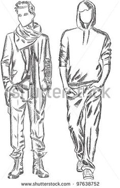Vector sketch of fashionable men by SketchMaster, via ShutterStock