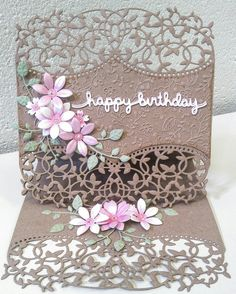 Easel birthday card using Die'sire edgeable dies and Sara Davies Signature floral dies