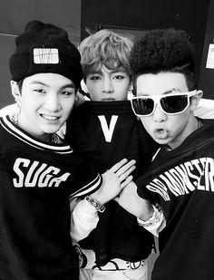 Suga, V  Rap Monster BTS
