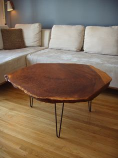 Natural Wood Coffee Table with Hairpin Legs Natural Wood Coffee Table, Side Coffee Table, Furniture Board, Cool Furniture, Furniture Design, Wall Trim Molding, Home Office Bedroom, Pecan Wood, Hairpin Legs