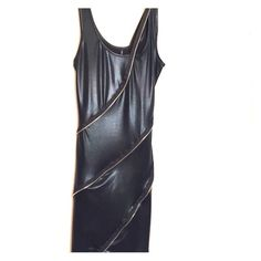 Black pleather dress with zippered design This dress is form fitting and looks so cool dressed down with boots and a leather jacket or sexy high heels at a bar or club! So hot. 🔥🔥🔥 Dresses