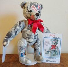 "14"" Limited Edition D Day Normandy Newsprint Teddy Bear by Robin Rive"