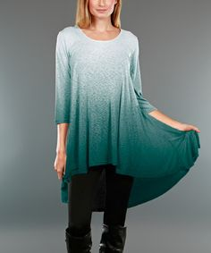 Another great find on #zulily! Green & White Ombré Hi-Low Tunic - Plus #zulilyfinds
