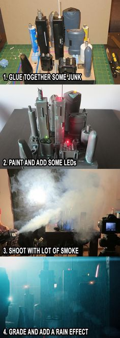 How to make and shoot a futuristic city miniature with junk and cheap equipment!