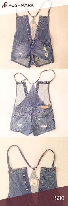 Zara TRF Denim Vintage Collection Overall Shorts Zara TRF Denim Vintage Collection Distressed Overall Shorts. Size S. New without tags. Zara Shorts Jean Shorts