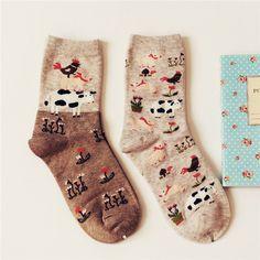 2 пара/лот животное рисунок Caramella марка прекрасный корова мода мультфильм носки для женщин творческие милые девушки носок женский Mieas