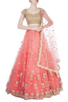 Shop Mrunalini Rao - Peach embroidered lehenga set Latest Collection Available at Aza Fashions Half Saree Lehenga, Lehnga Dress, Bridal Lehenga, Gold Lehenga, Kids Lehenga, Indian Lehenga, Wedding Sarees, Indian Designer Outfits, Designer Dresses