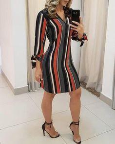Women Sexy Stylish Striped Asymmetrical Dress by MelbaPeachCandleCo on Etsy Chic Outfits, Dress Outfits, Casual Dresses, Fashion Dresses, Maxi Dresses, Vetement Fashion, Trend Fashion, Emo Fashion, Denim Shirt Dress