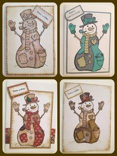 Woodware snowman stamp, printed on multiple papers, cut out and patch worked together to create fun christmas cards :)