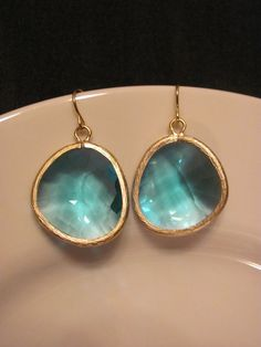 Sea Blue Stunning Large Gemstone Earrings by savannahjacks on Etsy, $35.00