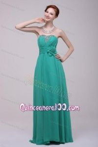 Green Chiffon Empire Beading and Flower Dama Dress for Quinceanera for 2014 Spring - Quinceanera 100