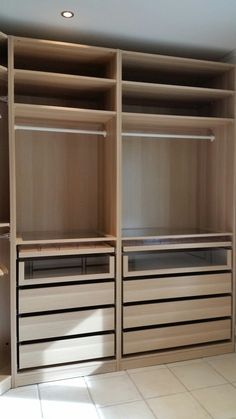 My Ikea Pax white oak walk-in-closet