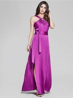 An elegant gown designed with a silky construction, cutout and belt details and metal hardware accents | MARCIANO.com