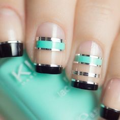 Tiffany Blue and Black Negative Space Nails With Silver Nail Tape nail art trending Cute Nails, Pretty Nails, My Nails, Silver Nails, Black Nails, Teal Nails, French Nail Designs, Nail Art Designs, Nails Design