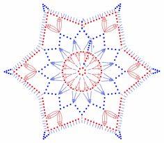 Crochet snowflake hexagon, six points, chart снежинки