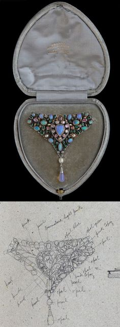 ARTHUR & GEORGIE GASKIN 'Loves Garland' Triangular Corsage Brooch. Composed of silver, gold, opals, pink tourmalines, blister pearls and emerald pastes. Marks: Signed G. British, 1912. #Gaskin #ArtsAndCrafts #brooch