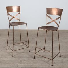 Set of 2 Jabalpur Copper Counter Stool (India) - Overstock™ Shopping - Top Rated Bar Stools Copper Bar Stools, Rustic Stools, Copper Counter, Dining Room Bar, Dining Chair Set, Best Dining, Bar Furniture, Concrete Furniture, Counter Stools
