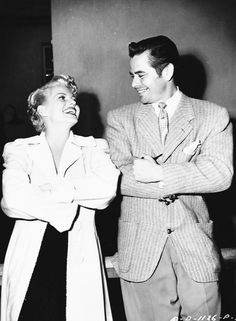 Glenn Ford visits Rita Hayworth on the set of The Lady from Shanghai, 1947.