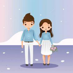 Bride And Groom Cartoon, Wedding Couple Cartoon, Cute Couple Cartoon, Cute Couple Art, Cute Love Cartoons, Cute Couples, Couple Pictures, Wedding Card Design Indian, Indian Wedding Couple