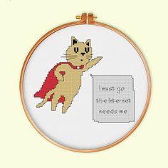 Supercat cross stitch pattern modern cross stitch by ThuHaDesign