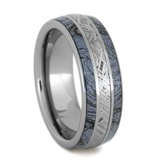 Tungsten Ring With Cobaltium Mokume, Meteorite Ring, Unique Wedding Band, Mixed Metal Jewelry
