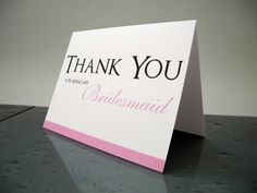 Thank You for Being My Bridesmaid, Bridesmaids Thank You Cards, Bridesmaid Thank You Gift Card on Etsy, $2.00