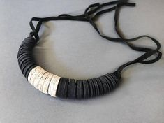 Necklace with pendant made of black paper and book paper paper jewelry adjustable length birthday gift by AlfieriJewelDesign