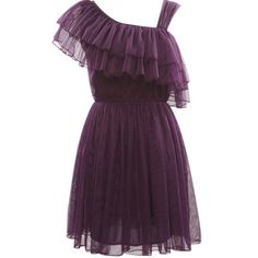 Women Chiffon Elegant Lotus asymmetric One-Shoulder Purple Event One... ($19) ❤ liked on Polyvore
